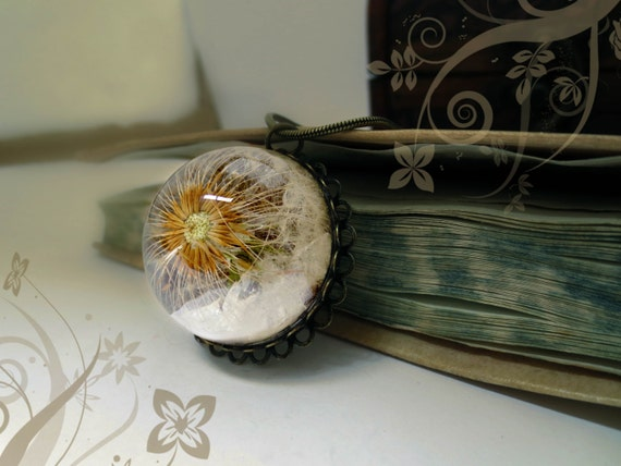 Dandelion necklace vintage resin make a wish antique brass