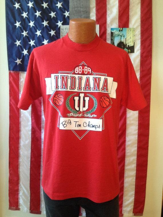 1988 89 indiana hoosiers basketball big ten champs t shirt for Indiana basketball t shirt