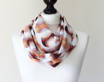Ankara Print Scarf, African Scarf, Printed Circle Scarf, Boho Cotton Scarf, Geometric Loop Scarf, Infinity Scarf, Spirals Scarf, Women Gift