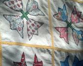 Bed Spread Shabby Chic Applique Tulips Multi Color on White Vintage Linens Boho Folk Art