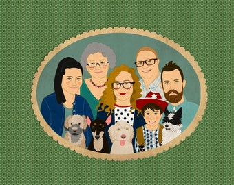 Large family Portraits Custom family Illustration Personalized Family Portraits with pets Portrait of 5 or more people and pet.