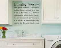 vinyl decals - laundry room decal - vinyl letters - Laun.dry (lawn.dre) laundry room definition - wall art -  5 sizes - laundry room decor