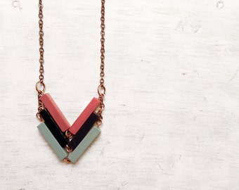 Wood Geometric Necklace // MY JAPANESE SONG // Minimal Jewelry // Black-Pink -Mint Hand-Painted Necklace // Modern Necklaces