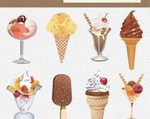 Ice Cream Clipart. Food Clipart. Ice Cream Clip art. Posicle, Gelato Digital Images 290