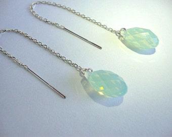 Chrysolite Opal Swarovski Crystal Sterling Silver Threaders - Handmade Jewelry - Bridesmaid Earrings - Minimalist Jewelry - Mint Earrings