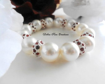 Pearl Wedding Bracelet Ruby Red Crystal Bracelet Red&White Jewelry Swarovski Bridal Bracelet Red Bridesmaid Bracelet Mother of Bride Gift