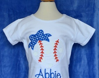 Personalized Heart Baseball with Bow Applique Shirt or Onesie Girl