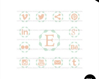Social Media Buttons / Icons for Website or Blog - INSTANT DOWNLOAD - SMB004