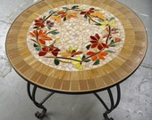 RESERVED for LIZ - mosaic table top and wrought iron base