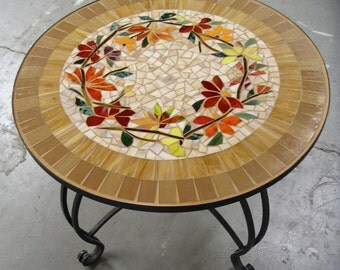 MOSAIC TABLE floral motif CUSTOM stained glass inlaid iron furniture hand-made colorful table top