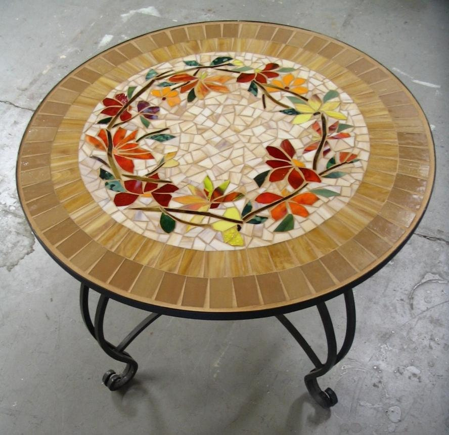 mosaic table floral motif custom stained glass inlaid iron. Black Bedroom Furniture Sets. Home Design Ideas