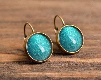 Sea green earrings, dangle earrings, glass dome earrings, antique brass earrings, sea green dangle earrings, jewelry gift for bridesmaids