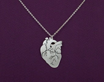 Anatomical heart necklace - silver anatomy heart pendant - biology gift - Valentine's day
