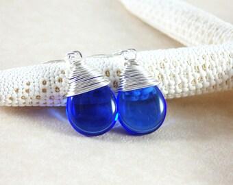 Cobalt Earrings, Czech Glass Earrings, Briolette Earrings, Dangle Earrings, Cobalt Jewelry, Silver Earrings, Blue Earrings, Blue Jewelry