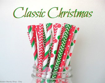 Red & Green Christmas Paper Straws Mixed (Classic Christmas - Pack of 25 or 50 Straws) **Weddings, Parties, Showers, Gifts**