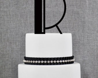 Art Deco Single Monogram Cake Topper – Custom Wedding Cake Topper in Art Deco Font and Your Choice Color