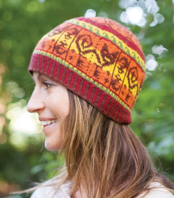 Digital Knitting Patterns : Inca Cat Hat Digital Knitting Pattern PDF fair isle stranded