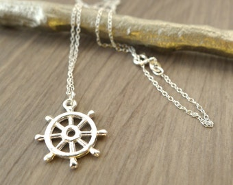 Captains Wheel Necklace, Sterling Silver, Nautical Necklace, Nautical jewelry, Sterling Ship Wheel, Ship Wheel Necklace, Travel Gift, Sailor