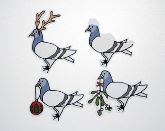 Christmas Mistletoe, Reindeer, Snowy and Bauble Pigeon Illustration Magnets (Pack of 4)