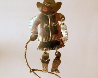 Brooch Cowgirl with Lasso Monaco Designs - Vintage - Southwestern - Country Western - Western Wear - pin -