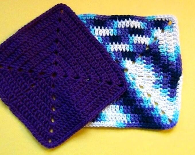 Eco Friendly Cotton Crochet Dish Cloth - Pure Cotton Wash Cloth - Maine Made Cotton Face Cloth - Set of 2