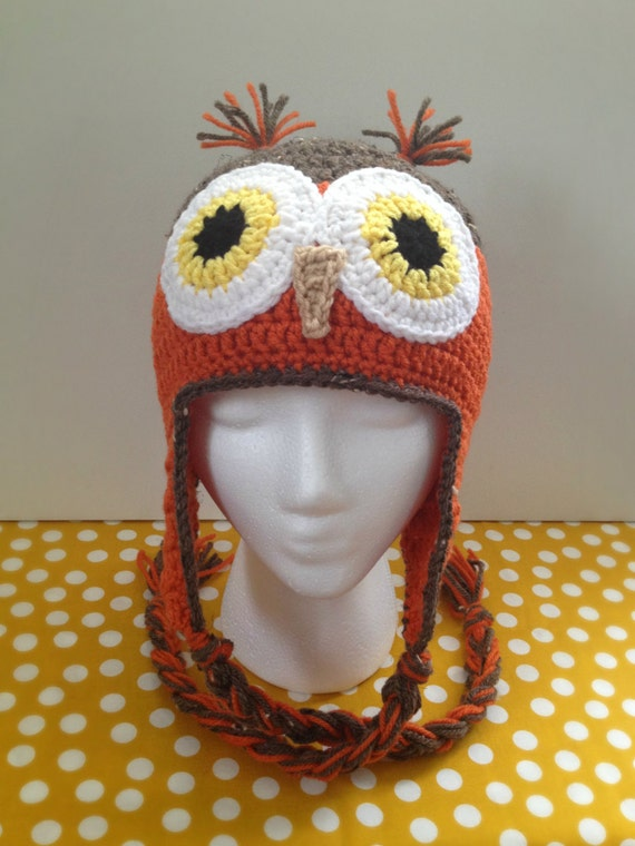 crochet owl s hat orange and brown in color