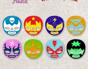 Mexican World Wrestlers Mask Printable for birthdays, Instant Digital Download, girls and boys Lucha Libre