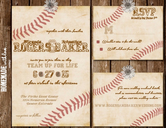 Baseball Themed Wedding Invitations: The Vintage Baseball Collection Set By HomemadeWithLoveWed