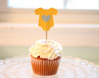 Baby Shower - Yellow Onesie Cupcake Toppers -Set of 12