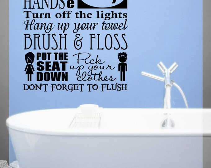 Bathroom rules Wall Decal Vinyl sticker home decor shower door toilet bath towel soap wash your hands put the seat down turn or the light