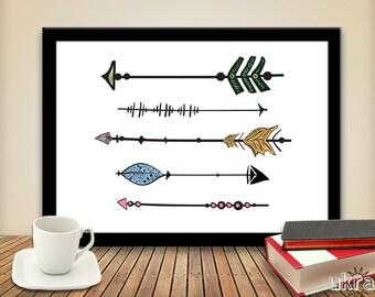 Printable Art Wall Decor,Arrow Art Print,Inspirational Wall Art,Hand-drawn Wall Art,Instant download,tribal,whimsical art print