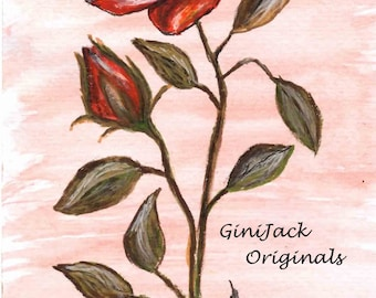 Matted Print of Original Watercolor Painting, Red Rose, Available in 3 Sizes,