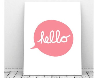 Hello Poster, Hello Print, Hello Paper, Hello Sign, Hello Wall Art, Instant Download, Hello Printable, Cubicle Art, Wall Decor,Digital Print