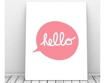 Hello Poster, Hello Print, Hello Paper, Hello Sign, Hello Wall Art, Instant Download, Hello Printable, Cubicle Art, Wall Decor,Digital Print