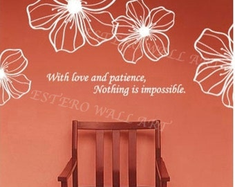 "Removable wall Stickers ""Love and Patience"", Flower Wall Decals, Removable Wall Decals , Nursery wall decal, home decor"
