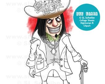 Digital stamp Voodoo King, digistamp of voodoo baron samedi, instant download
