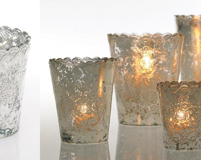 Mercury Glass Votive Candle Holders Anthropologie Style Vocitves Lace Scalloped Edge Votives Weddings Tea Light Holders Votive