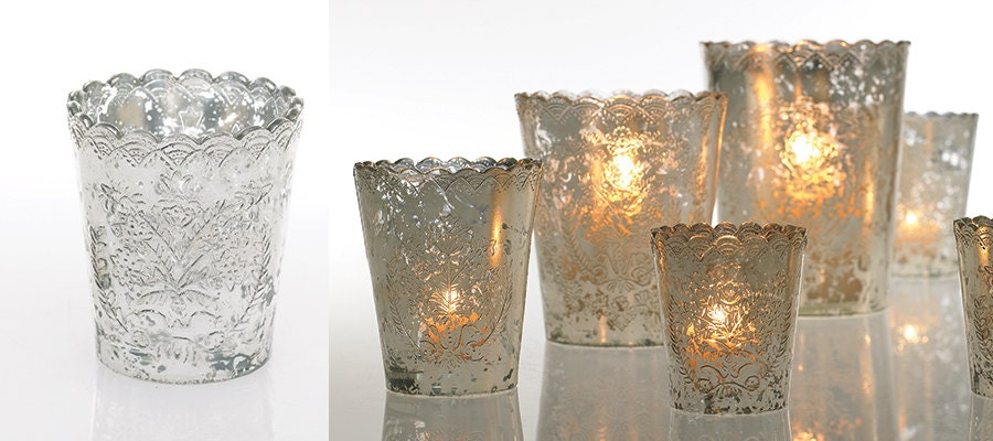 Mercury Glass Large Votive Candle Holder Lace With Scalloped