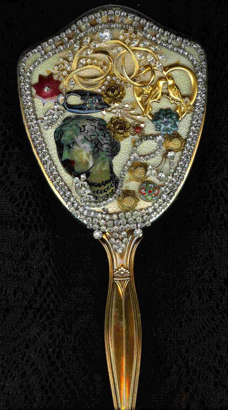 Chagall with Pearls Antique hand mirror with marvelous