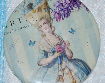 Lilas au printemps pocket mirror, a Marie Antoinette inspired WickedlyLovely Art pocket mirror