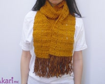 Crochet scarf with fringes. Easy level. PDF crochet Pattern. Instant download. Cheap scarf pattern_ L01