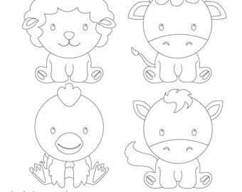 Printable Cute Farm Animals Coloring