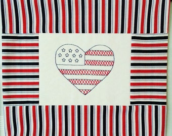 5x7in patriotic heart pattern.  Show your love of country and stitch to display in your home!