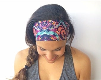Yoga Headband - Bali Print - Running Headband - Fitness Headband - Fitness Apparel - Wide headband