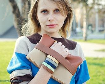 "Purse ""CarryMe"", brown clutch bag, vegan leather"