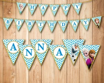 Personalized Frozen Birthday Banner  - Printable Frozen Banner with name, Frozen Party Favor - Elsa - Anna - Olaf-DIGITAL FILE