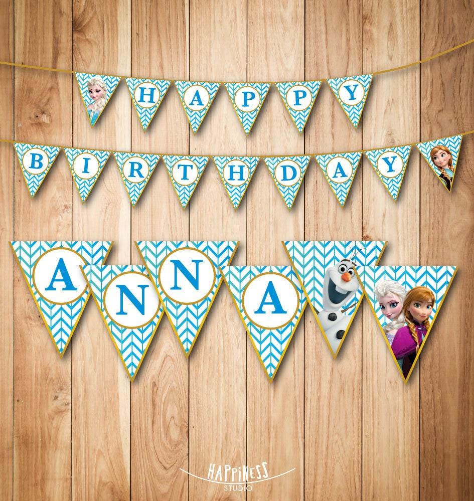 Frozen Birthday Banner Printable Frozen Banner Party By