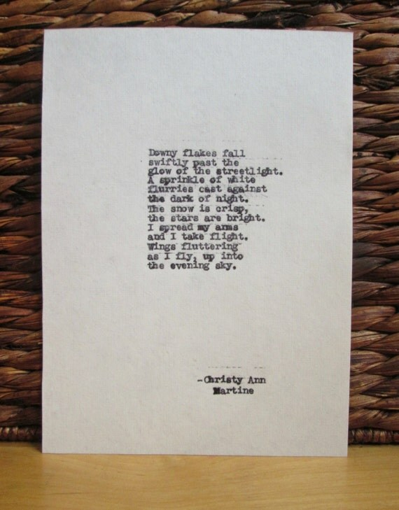 Snow Angel Snowflake Poem ~ Downy Flakes ~ Winter Poems ~ Typewritten Poetry Winter Art by Christy Ann Martine