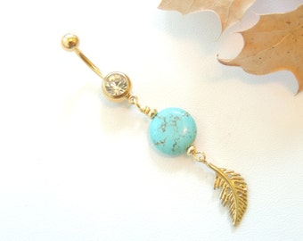 Feather and Turquoise Belly Button Ring, Navel Piercing, Curved Barbell, Gold Feather Charm, Crystal Belly Button Ring. 03