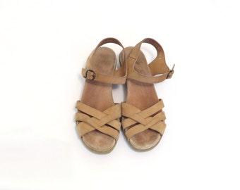 70s Cork Sandal 1970s Rockport Boho Bohemian Sandal Beige Tan Low Wedge Flat Heel Ankle Strap Suede Upper Crossover Strap Size US 6.5, EU 37